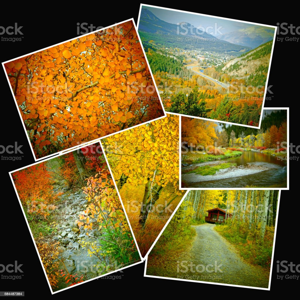 Autumn mountain colors in a collage- black background stock photo
