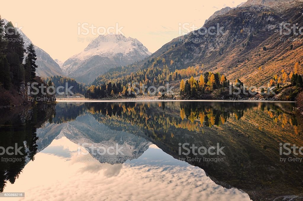 Autumn Mountain Lake Reflection stock photo