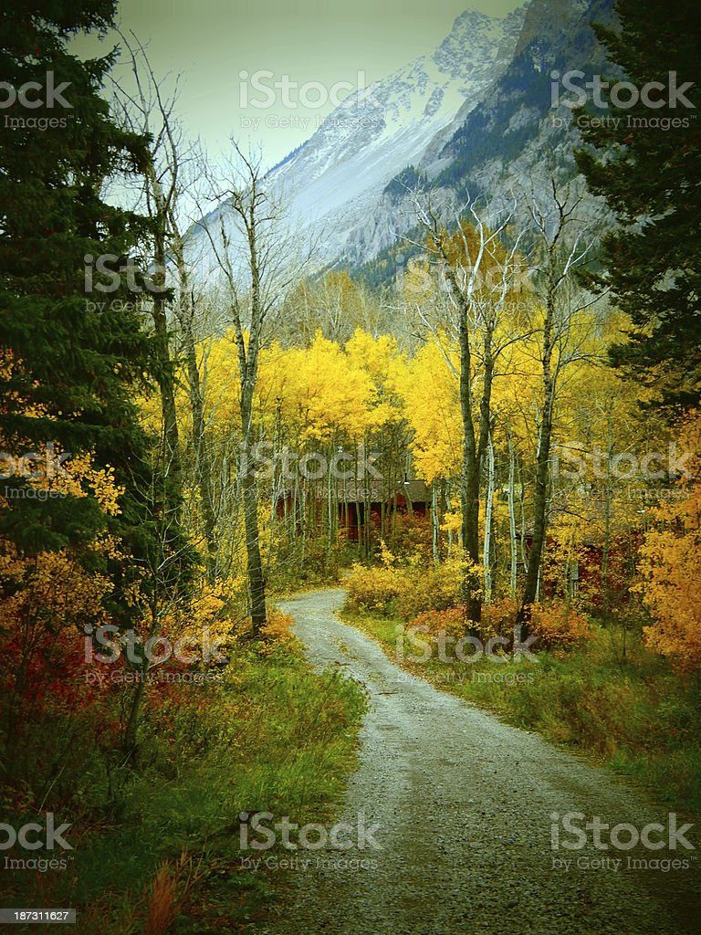 Autumn Mountain Road and Chalet royalty-free stock photo