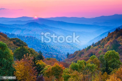 Sunrise over Appalachian Mountains in Autumn