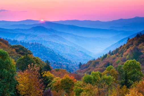 Sunrise over Appalachian Mountains in Autumn