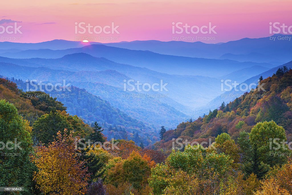Autumn Mountain Sunrise stock photo