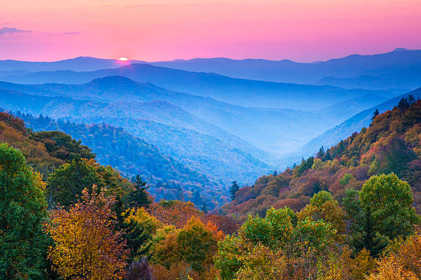 Autumn Mountain Sunrise Sunrise over Appalachian Mountains in Autumn   appalachia stock pictures, royalty-free photos & images