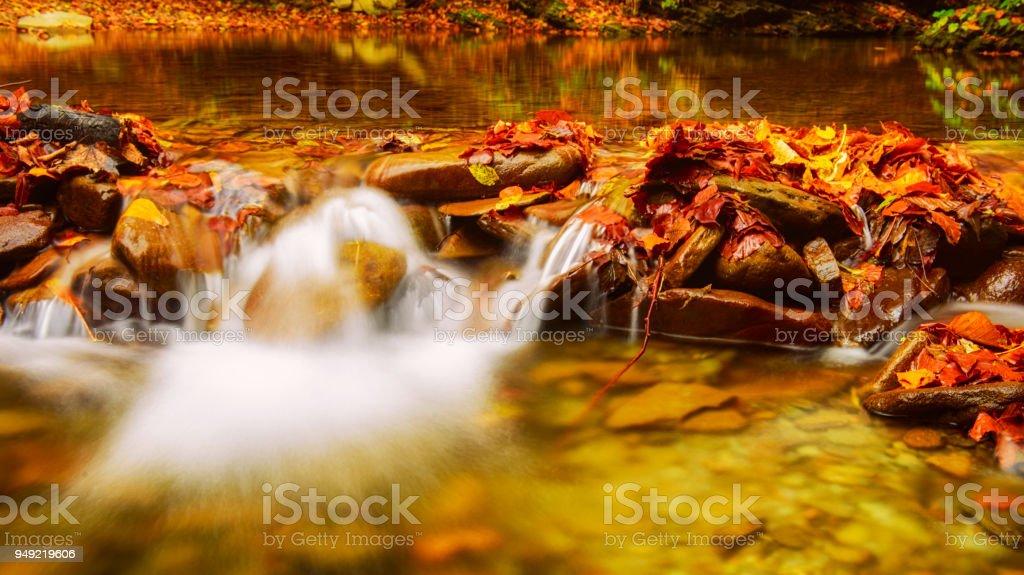 Autumn mountain waterfall stock photo