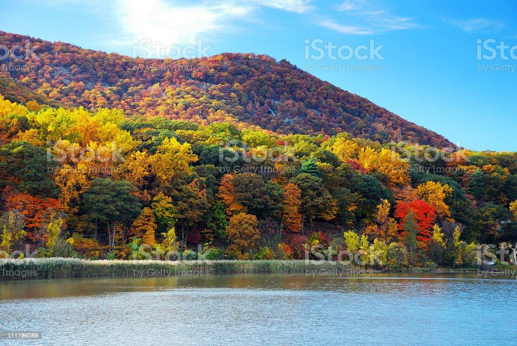 Autumn Mountain with lake stock photo