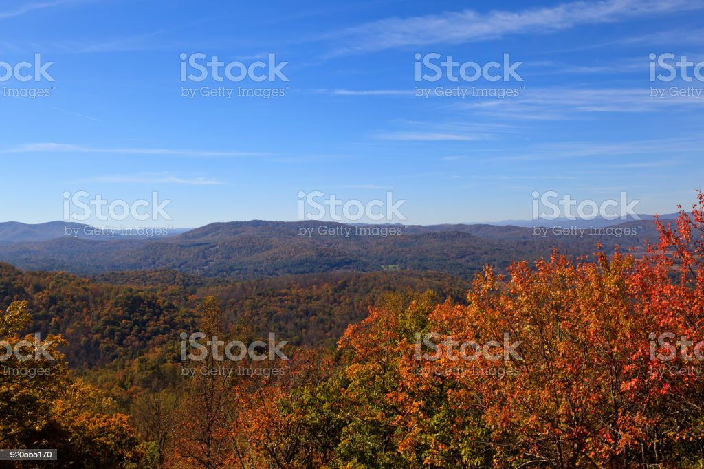 Autumn Mountains in North Carolina stock photo