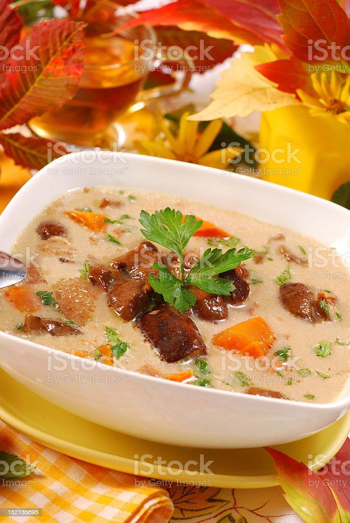 autumn mushroom soup with cream royalty-free stock photo