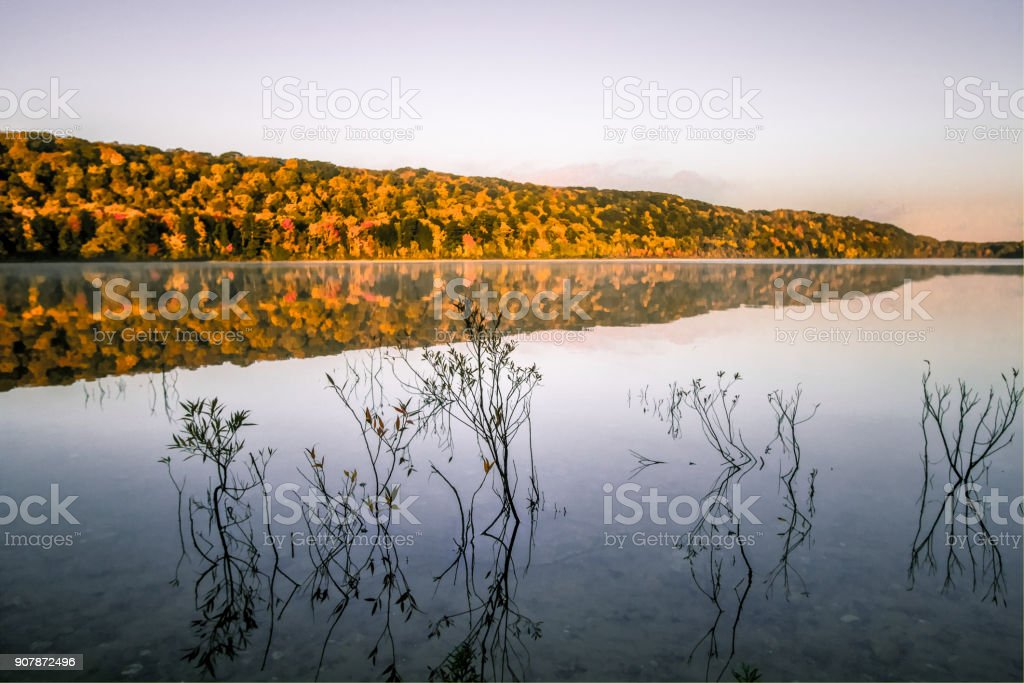 Autumn Nature Lake Landscape Reflection In The Hiawatha National Forest Of Michigan stock photo