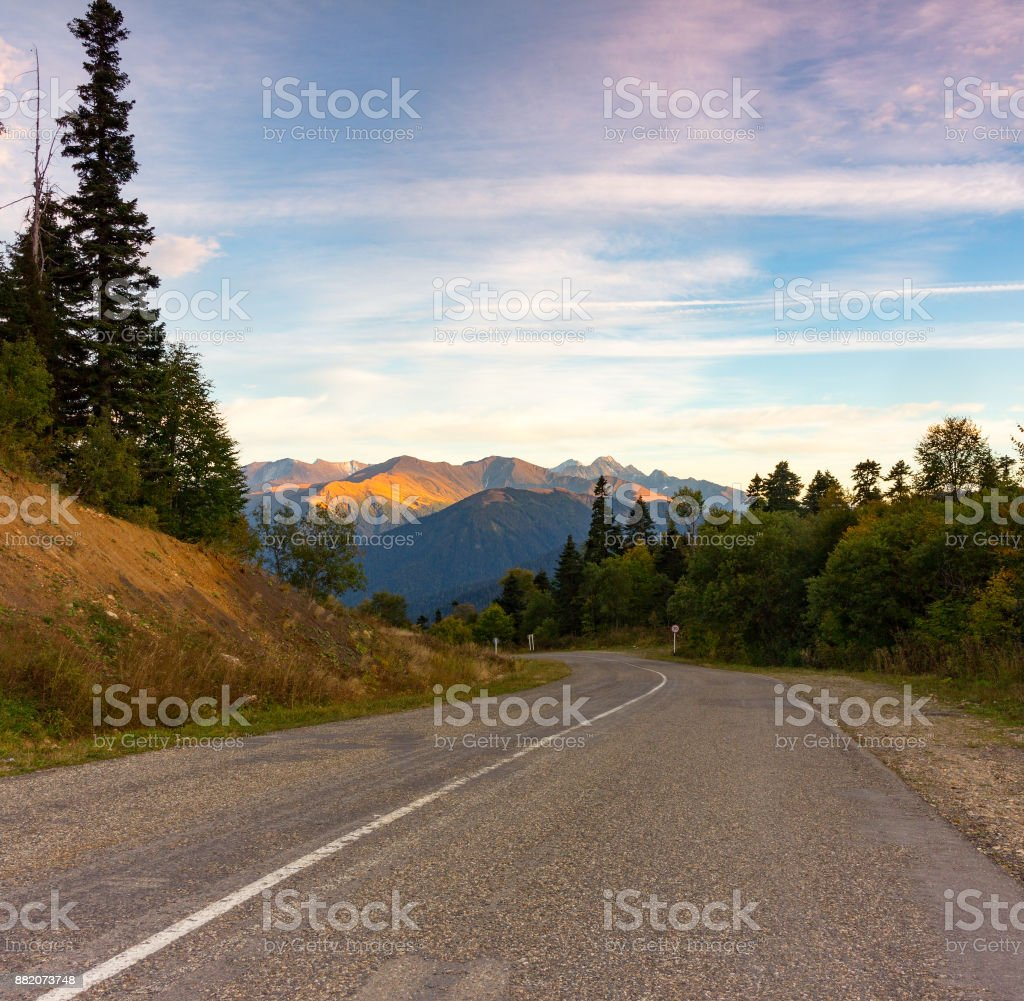 autumn nature landscape old road in the mountains stock photo