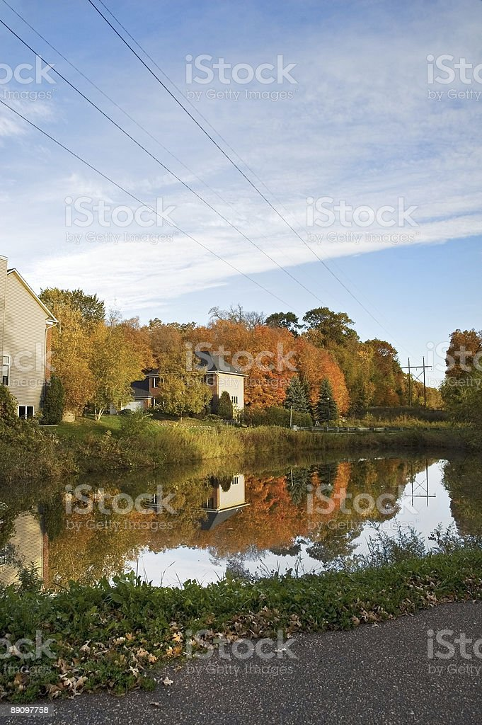 Autumn Neighborhood with Pond and Power Lines royalty-free stock photo