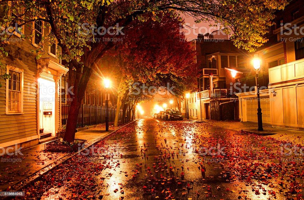 Autumn night in Boston stock photo