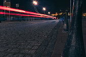 Autumn night light trails at the center of the city.