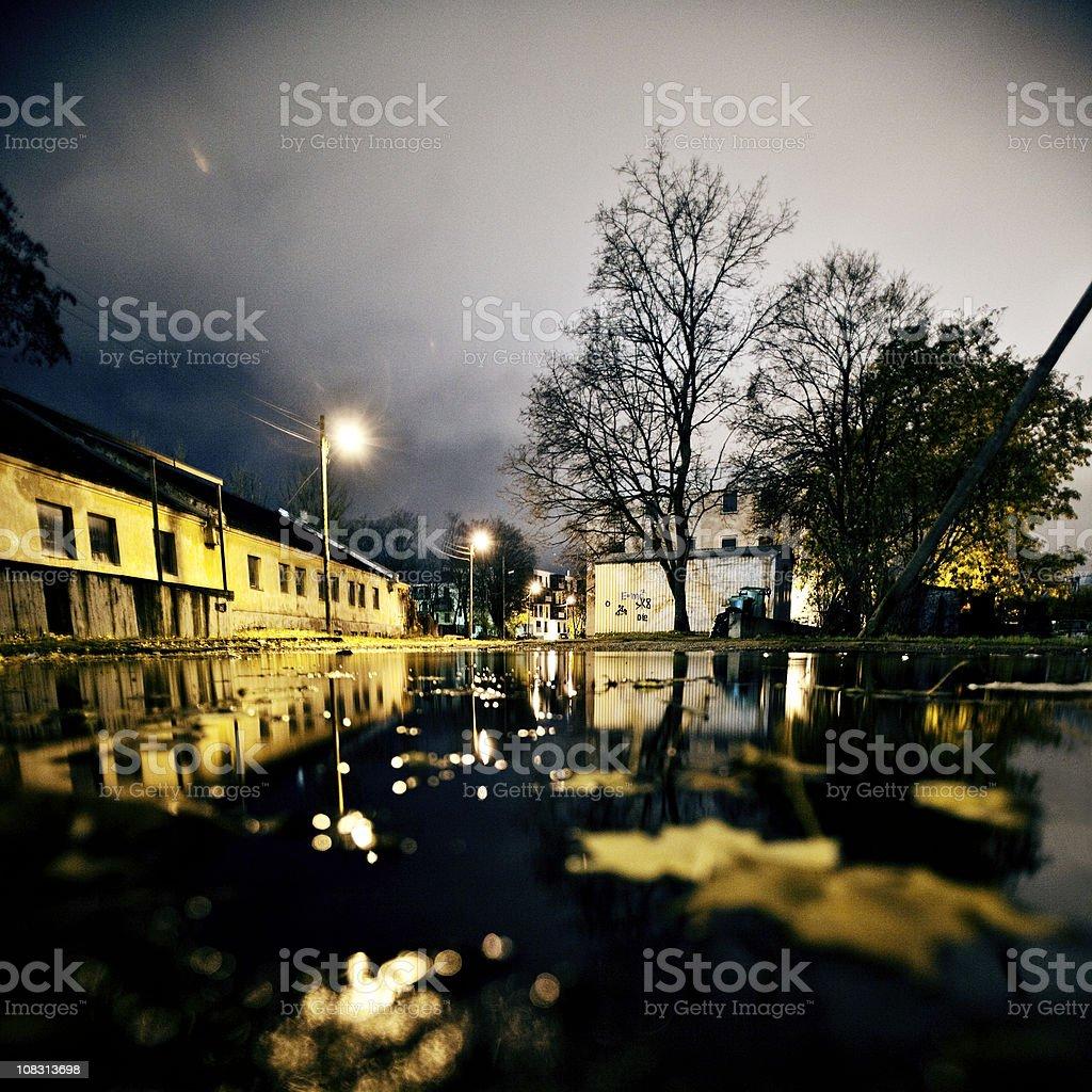 autumn night autumn night in town. Abandoned Stock Photo