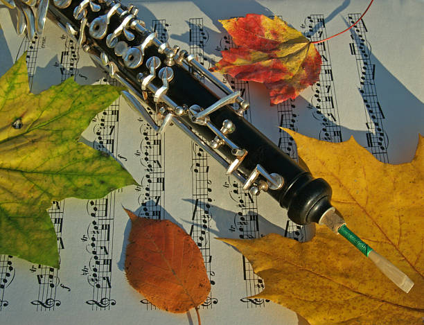Autumn Oboe and Colorful Leaves In Harmony on Music Page stock photo