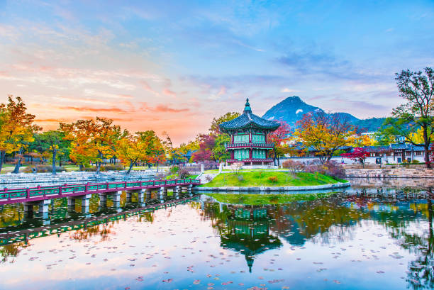 Autumn of Gyeongbokgung Palace in Seoul ,Korea. stock photo