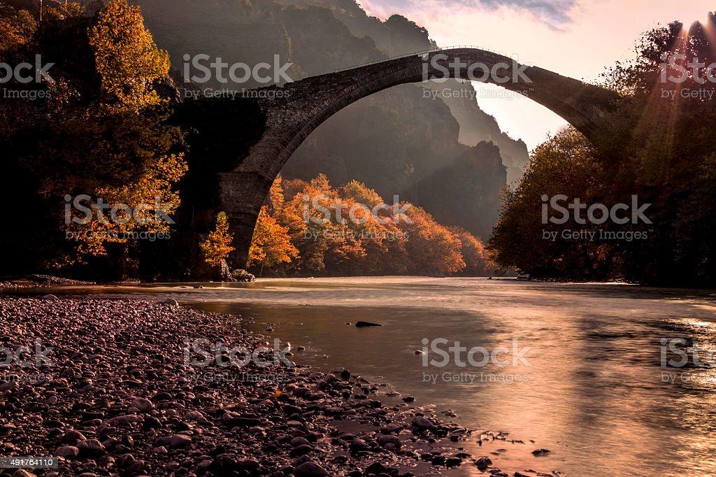 Autumn Old bridge stock photo