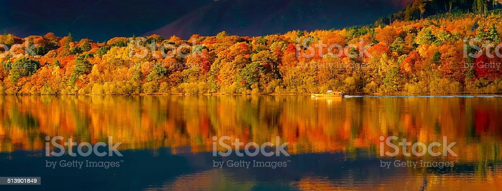 Autumn on Derwentwater Derwentwater in the English Lake District. Autumn Stock Photo