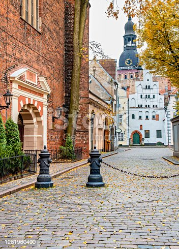 The photo was taken in old district of Riga - capital of Latvia and famous Baltic city widely known due to its unique medieval and Gothic architecture