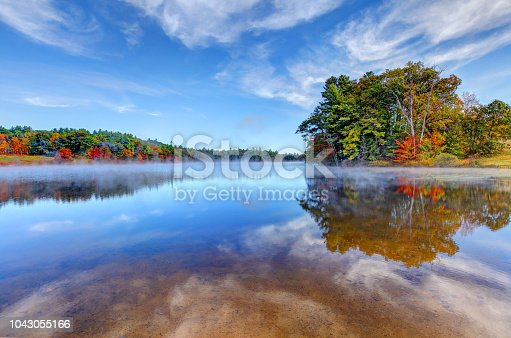 Norway Pond in Hancock, New Hampshire during the autumn foliage season