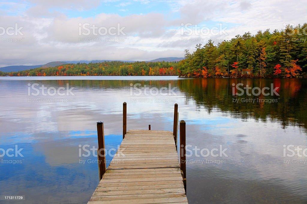 Autumn on Squam Lake in New Hampshire stock photo