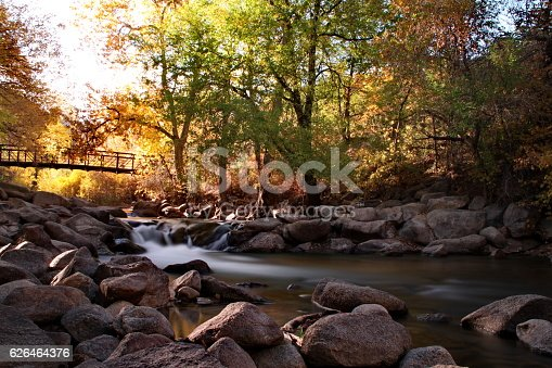 Long exposure of the Boulder Creek in Boulder, CO. Autumn is settling in as the trees embrace their new orange and yellow colors. A long exposure softens the movement of the water.