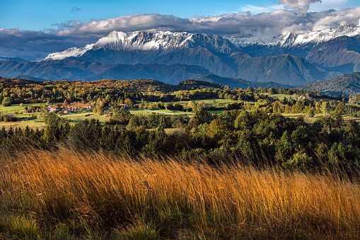 Autumnal scenic with fog, plateau Banjšice at the foot of Julian Alps in western Slovenia, Europe.