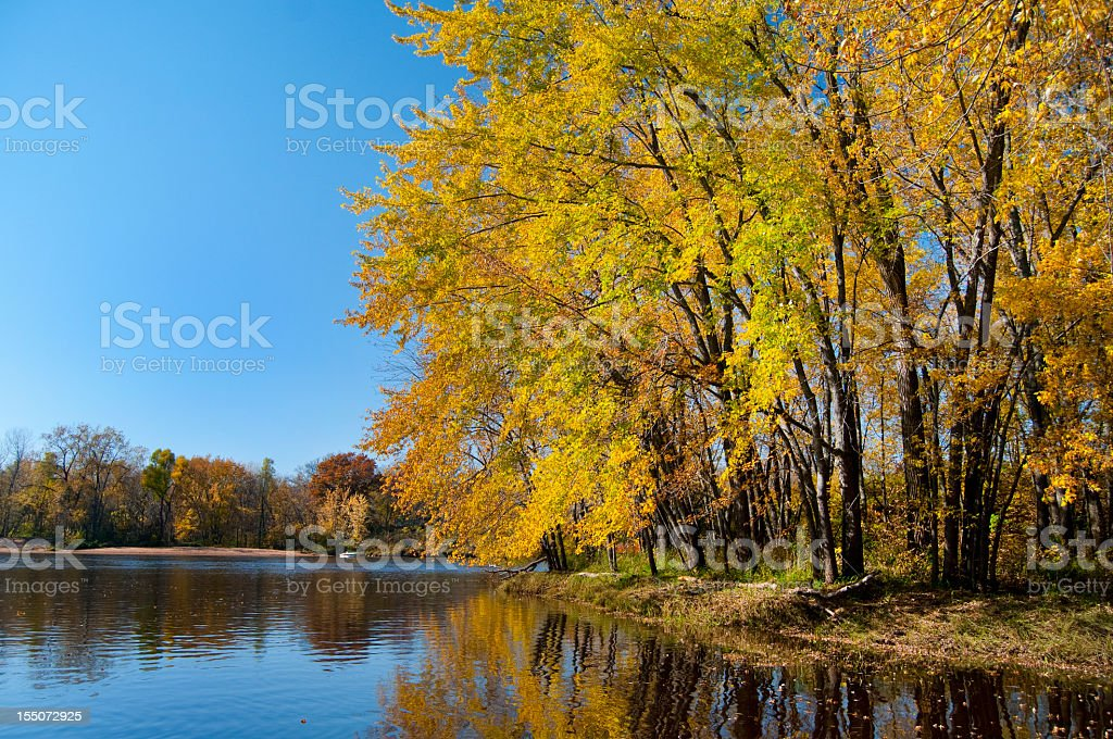 Autumn on the St. Croix River royalty-free stock photo