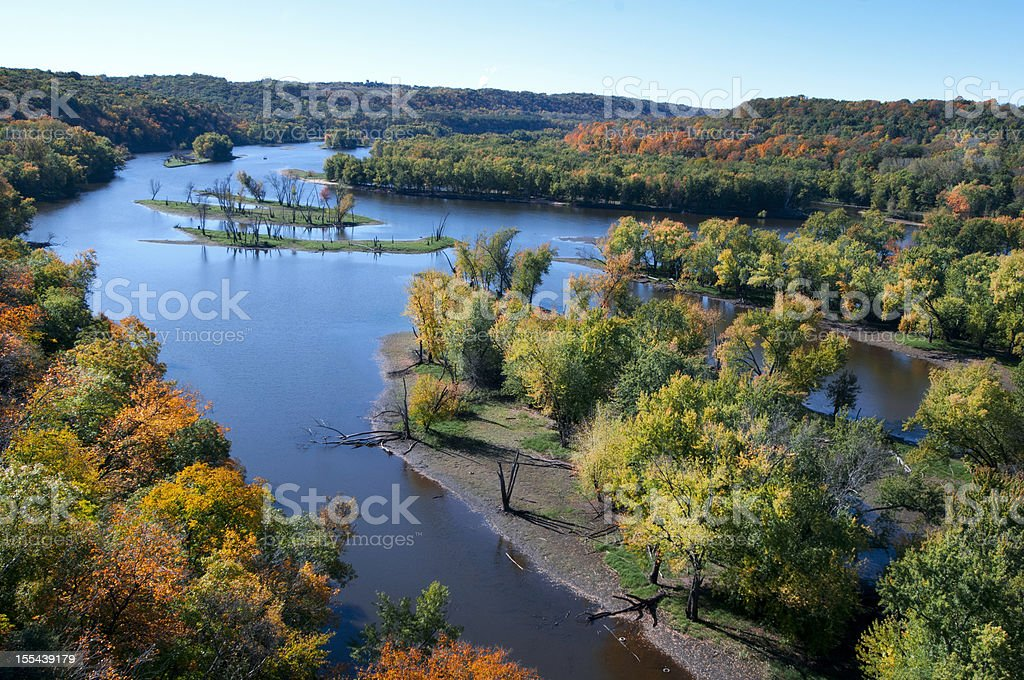Autumn on the St. Croix River stock photo