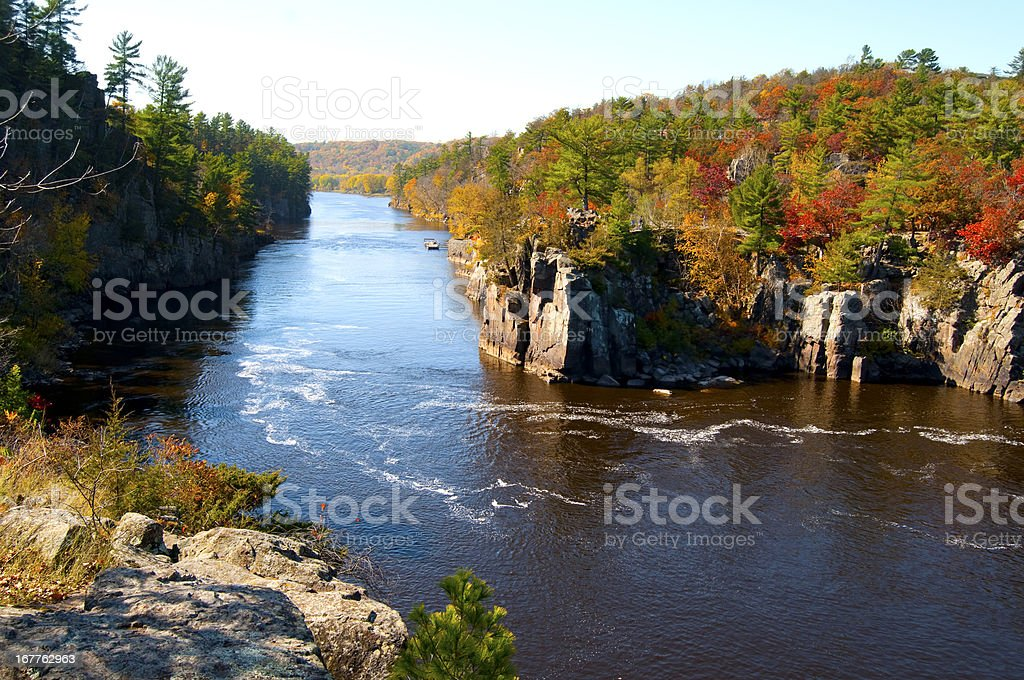 Autumn on the St Croix River stock photo