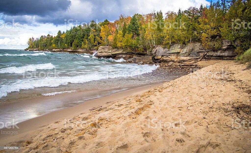 Autumn On The Wild Coast Of Lake Superior stock photo