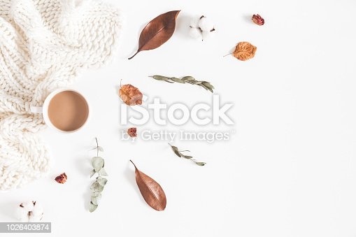 istock Autumn or winter composition. Cup of coffee, dried autumn leaves, knitted blanket on white background. Flat lay, top view 1026403874
