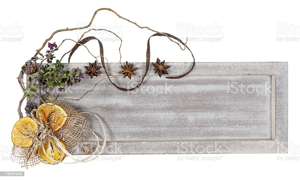 Autumn or witer decorations, copy space royalty-free stock photo