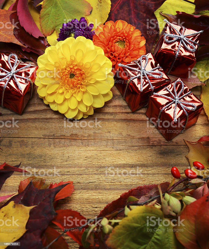Autumn ornament and gifts royalty-free stock photo