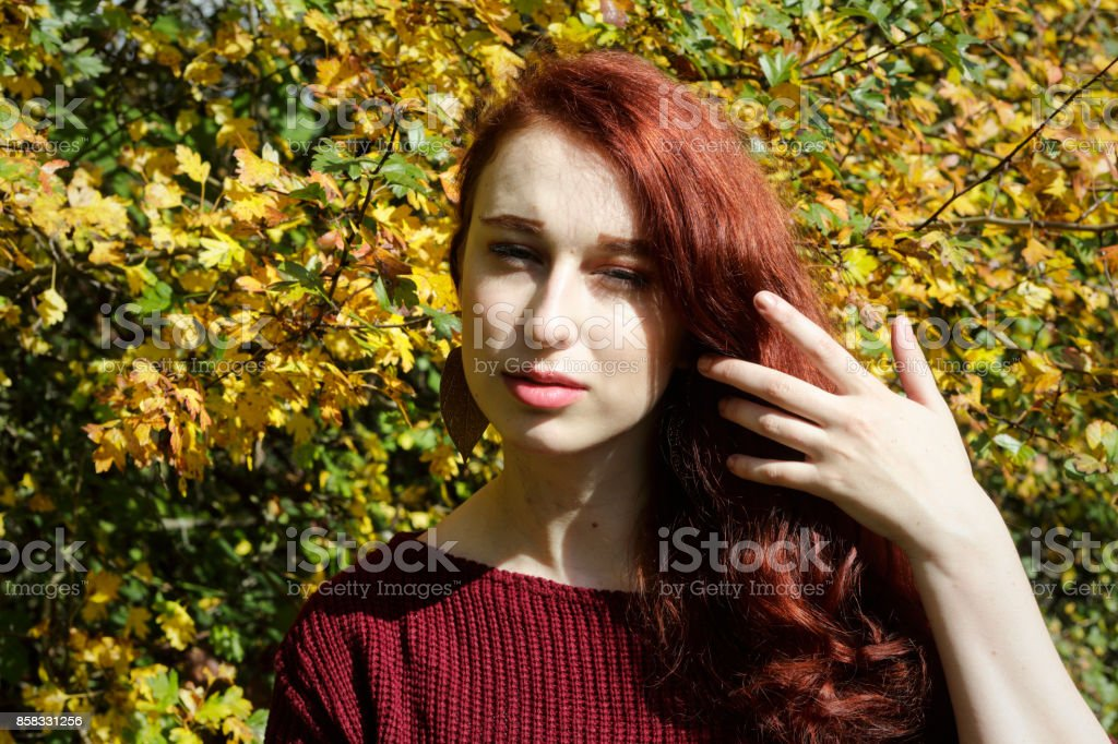 Autumn outdoor girl redhead caressing red hair stock photo