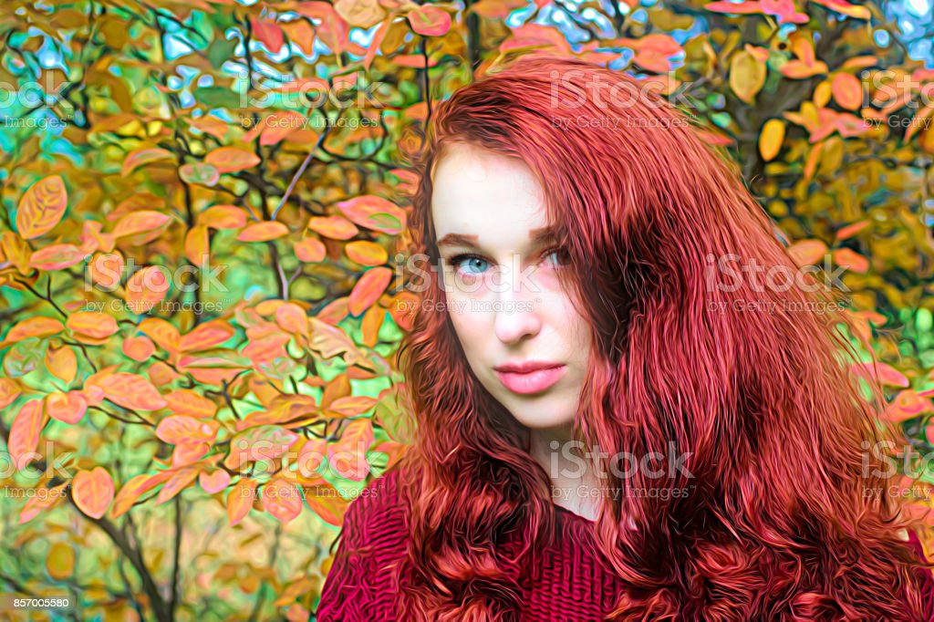 Autumn outdoor girl redhead with hand on breast stock photo