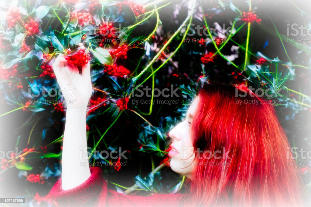 Autumn outdoor girl redhead with holly berries vignette stock photo