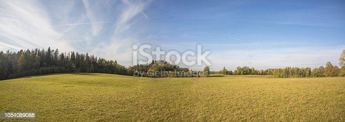 Autumn panorama. Landscape view. Autumn sunny day.