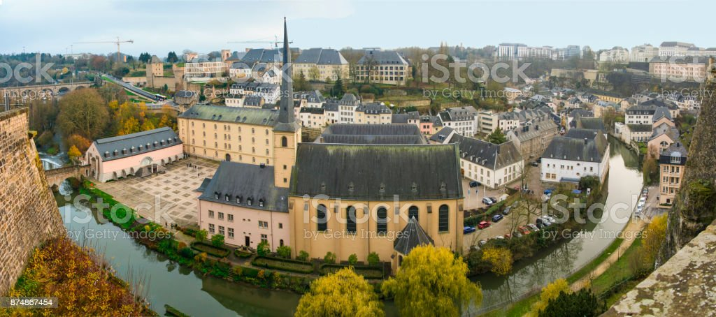 Autumn panorama of Abbey de Neumunster in Luxembourg stock photo
