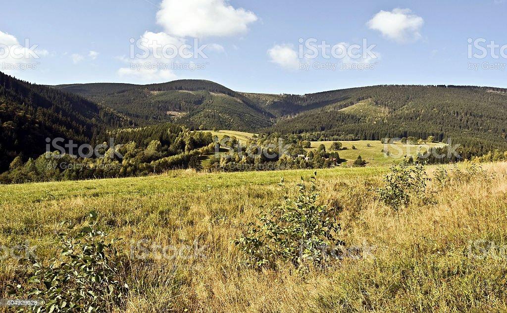 autumn panorama of Kralicky Sneznik mountains with meadow stock photo
