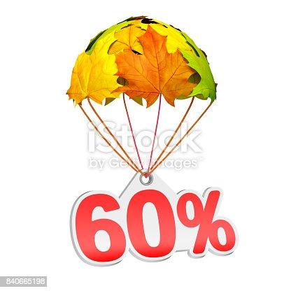 istock Autumn paper price tag label as sixty (60) percent with maple leaves 840665198