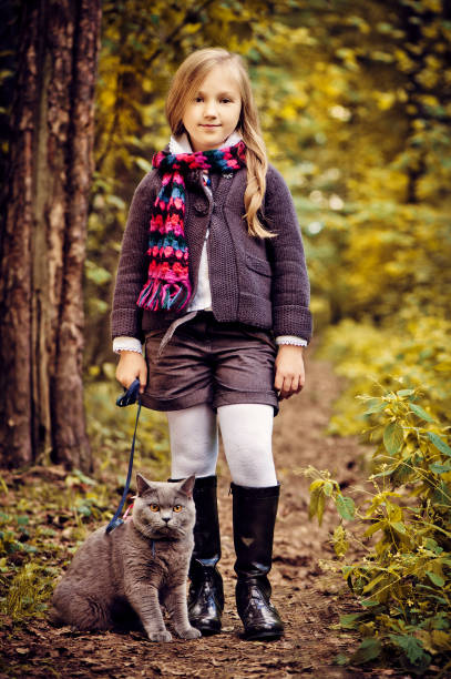 autumn park scene - cat leash stock photos and pictures