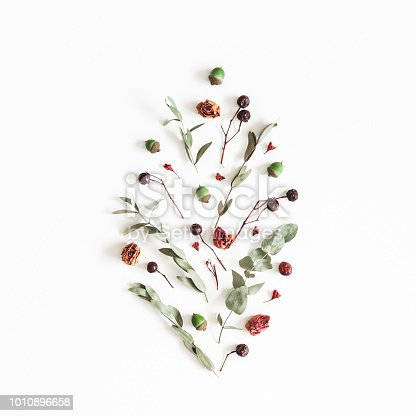 istock Autumn pattern on white background. Flat lay, top view, square 1010896658