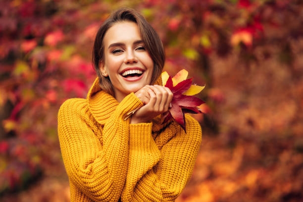 autumn photo of a beautiful girl - autumn stock pictures, royalty-free photos & images