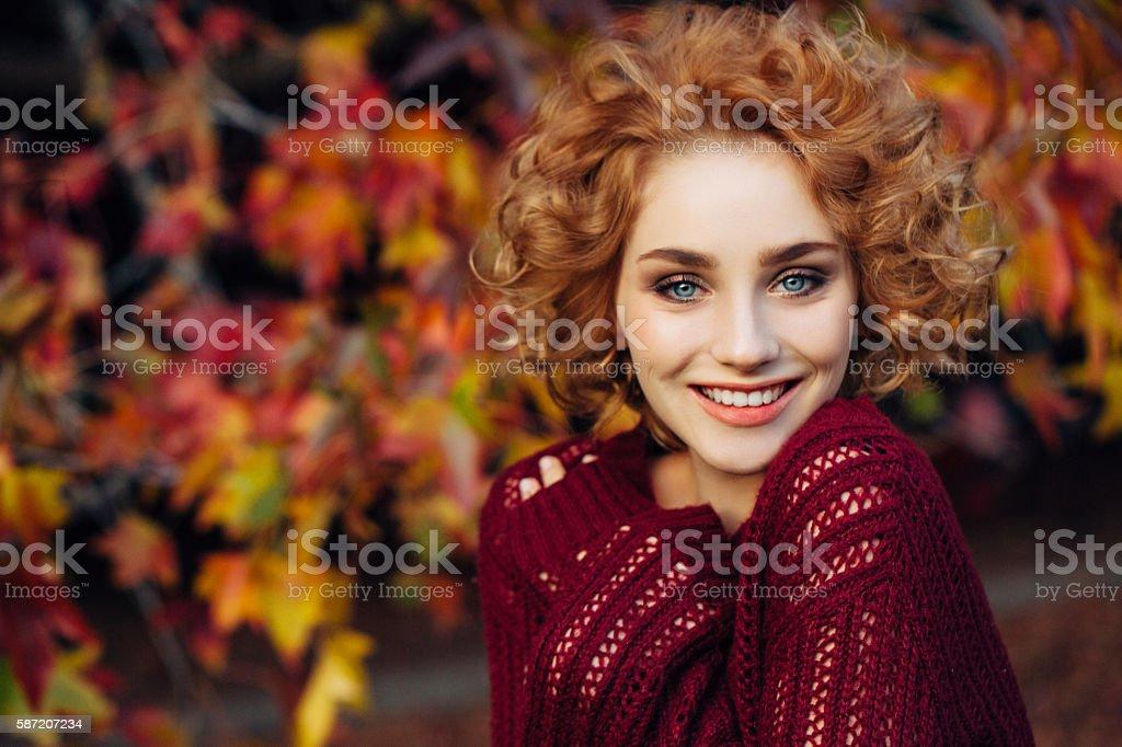 Autumn photo of a beautiful girl stock photo