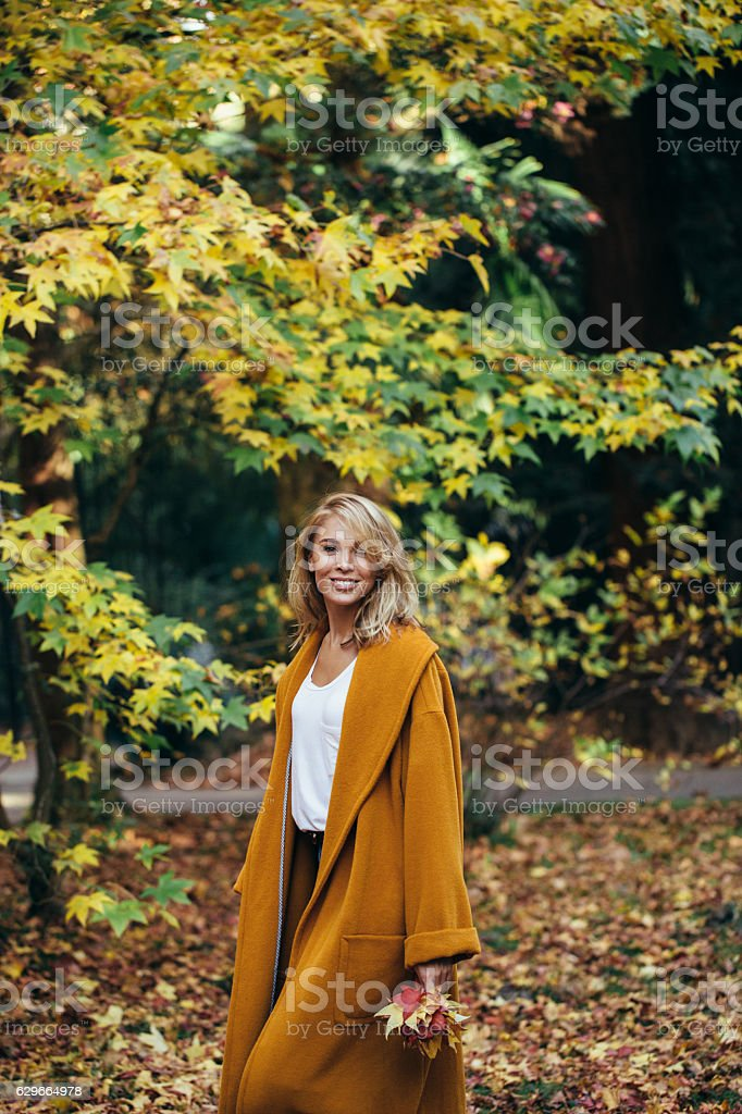 Autumn photo of a beautiful girl stock photo