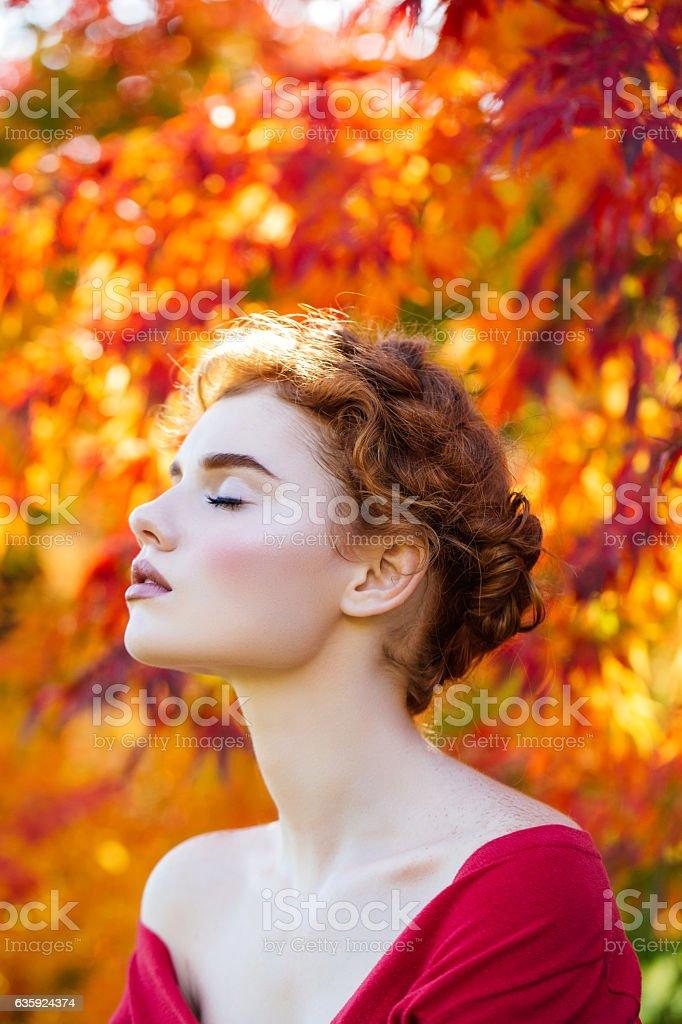 Autumn photo of beautiful girl stock photo