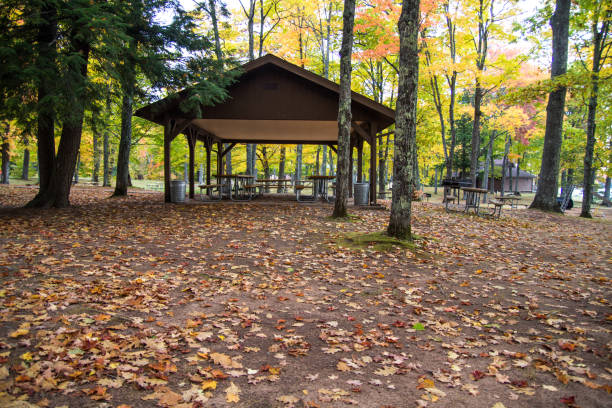 Autumn Picnic In Northern Michigan At Twin Lakes State Park stock photo
