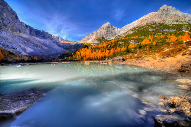 Autumn picture at the Lago di Sorapis stock photo
