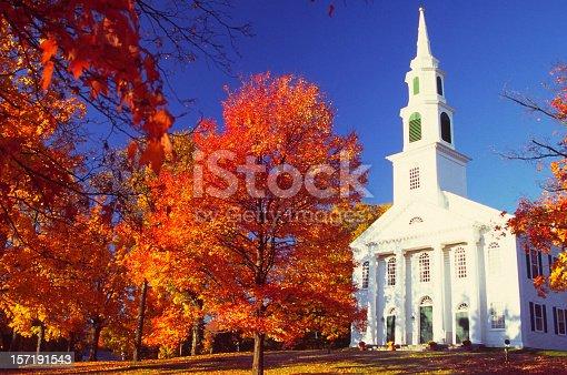 The small village of Granby, Massachusetts during peak autumn foliage season.