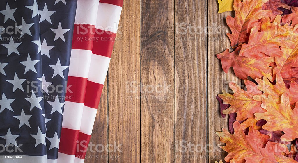 Autumn plank wood with us flag royalty-free stock photo
